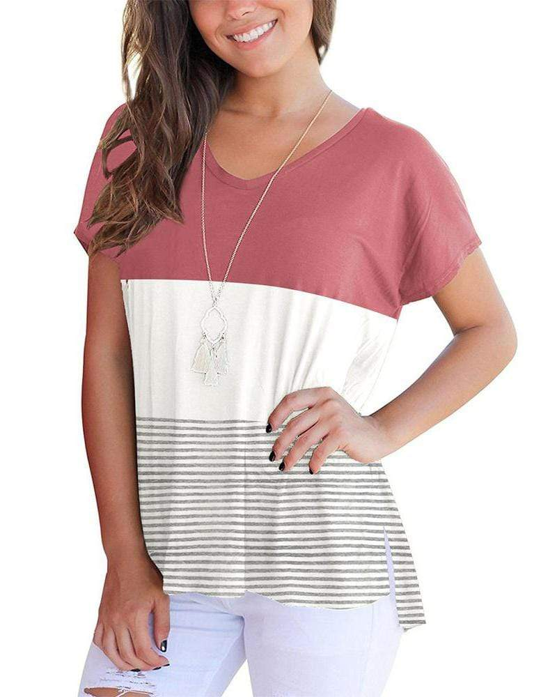 V-Neck Triple Color Block Stripe T-Shirt