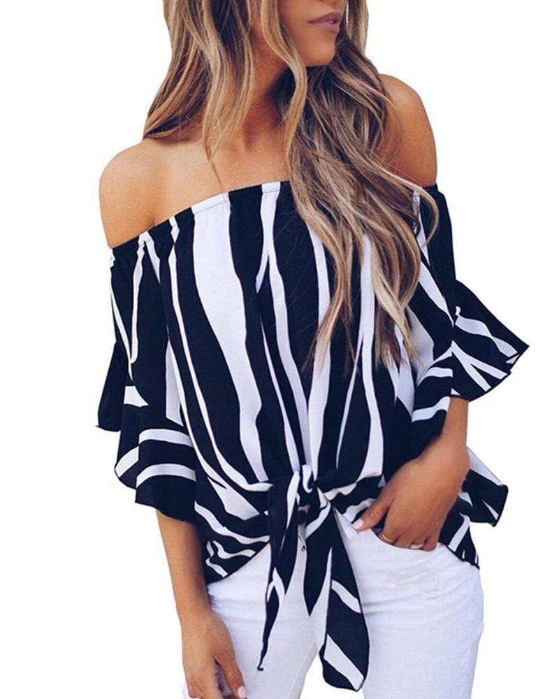 Exlura Striped Off Shoulder Bell Sleeve Shirt