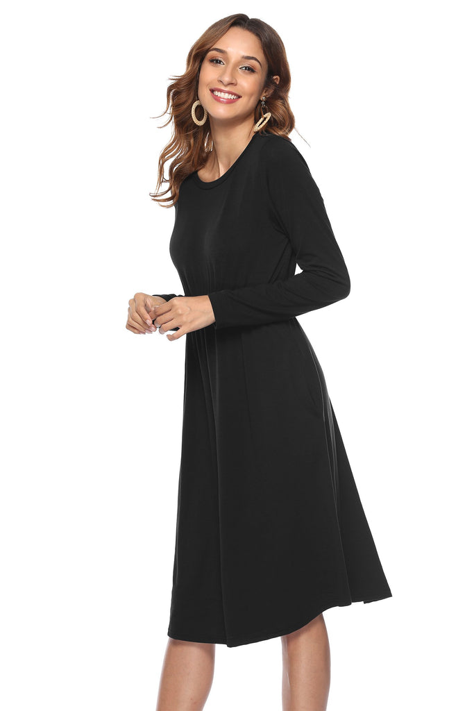 Loose Plain Maxi Long Dresses with Pockets - Exlura