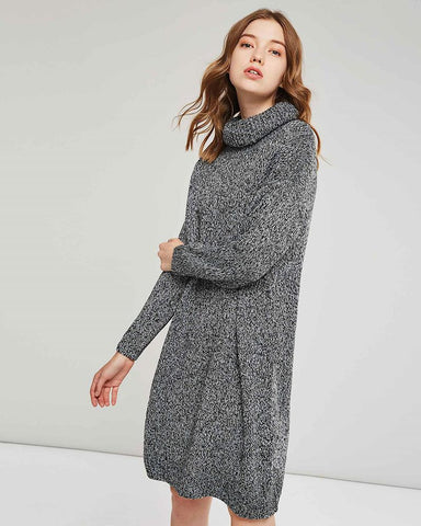 Straight Turtleneck Plain Thread Sweater Dress