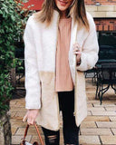 Plush Keep Warm Colorblock  Coat