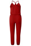 Button V Neck Sleeveless Solid Color Jumpsuit