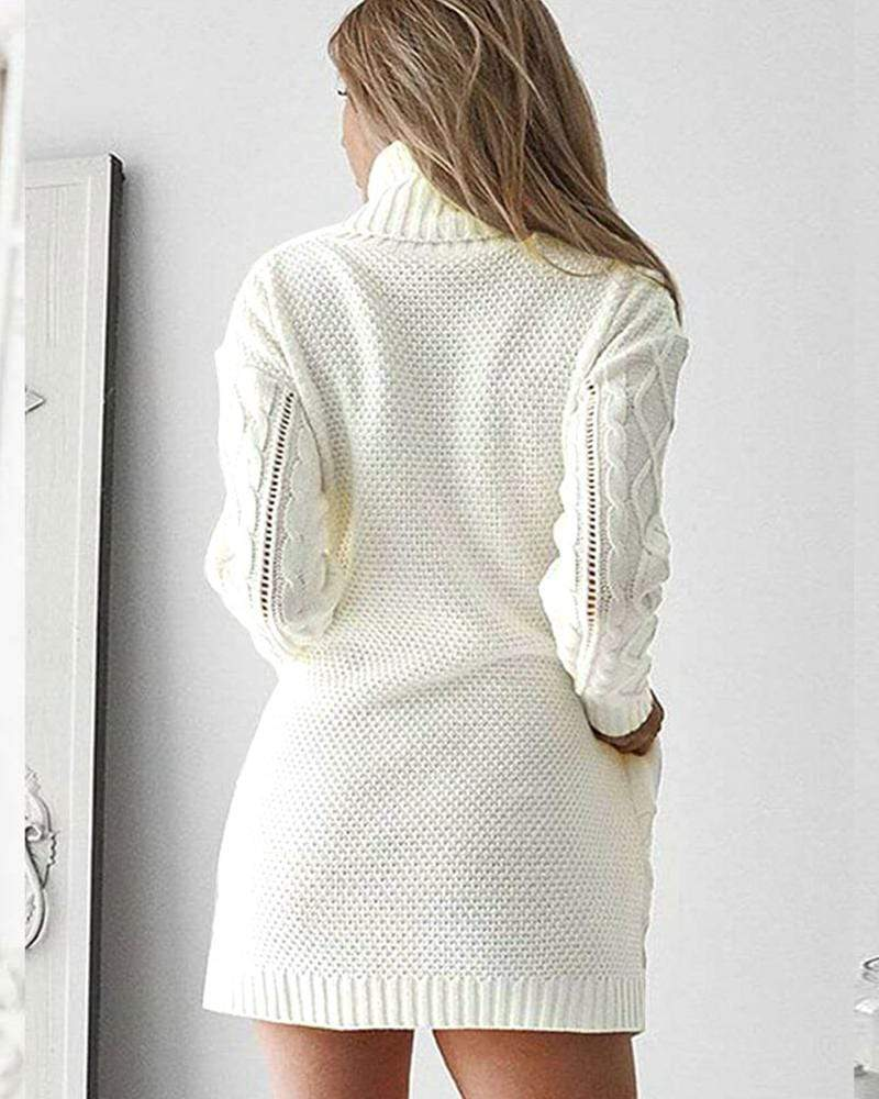 Exlura High Neck Pocket Knit Sweater Dress