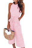 Striped Halter Off Shoulder Cropped Jumpsuit