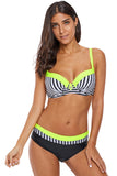Stripes Print Splice  Bikini Set