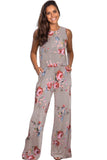Floral Print Sleeveless  Wide Leg Jumpsuit
