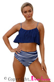 Solid Color Top and Striped Bottom High Waist Swimwear