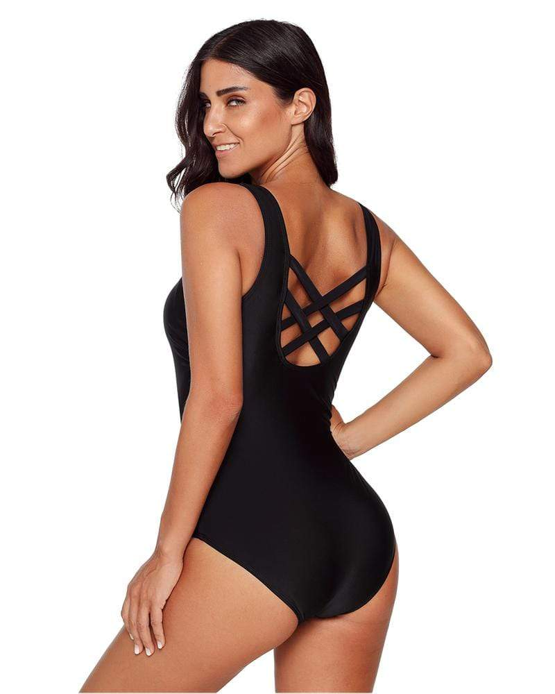 Exlura Retro Back Cross Monokini One Piece Swimsuit