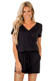 Short Sleeve Solid Color V Neck Jumpsuit