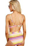 Colorful Stripes High Waist Bikini Swimsuit