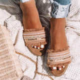 Woven Knitting Open Toe Tassels Hollow Out Sandals