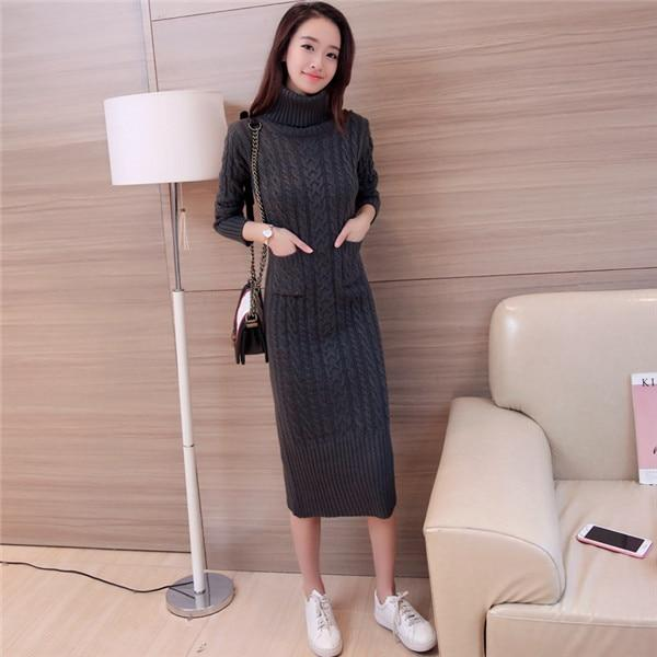 Turtleneck Slim Knit Sweater Dresses