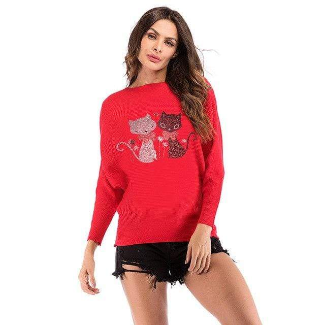 Exlura Cartoon Reindeer Knitted Slim All-match Christmas Sweater