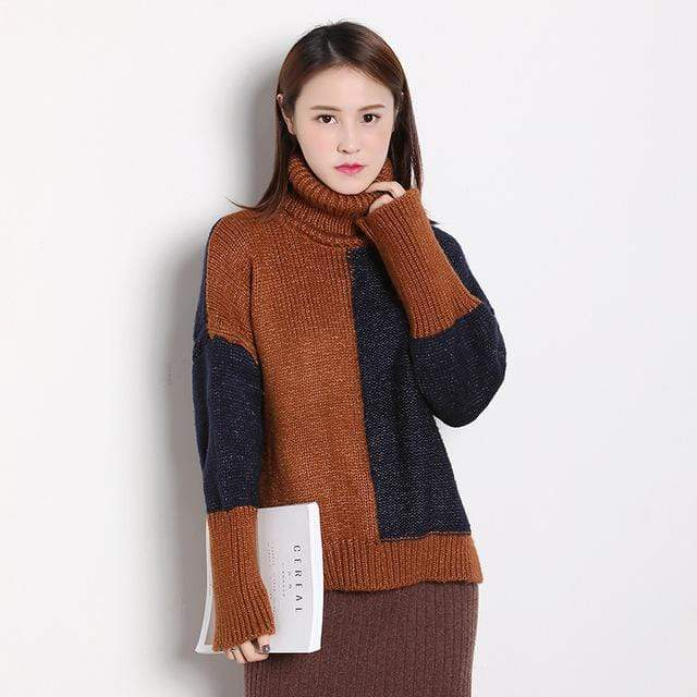 Turtleneck Knitted Trendy Patchwork Sweater