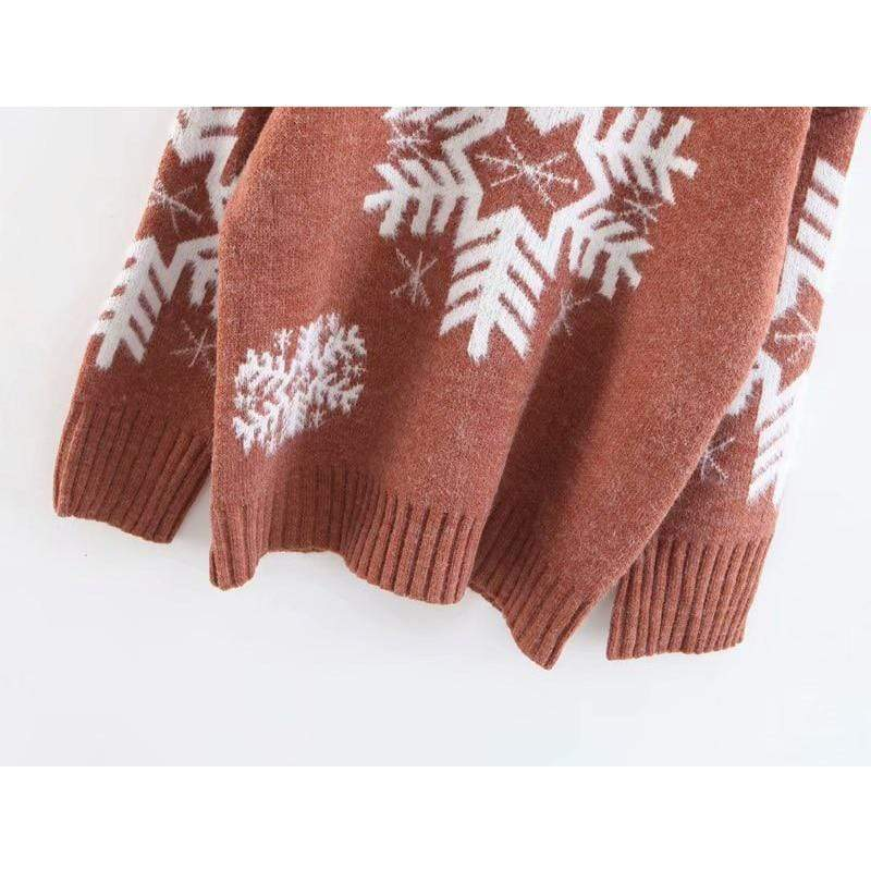 Exlura Christmas Snow Mohair Semi-Turtleneck Christmas Sweater
