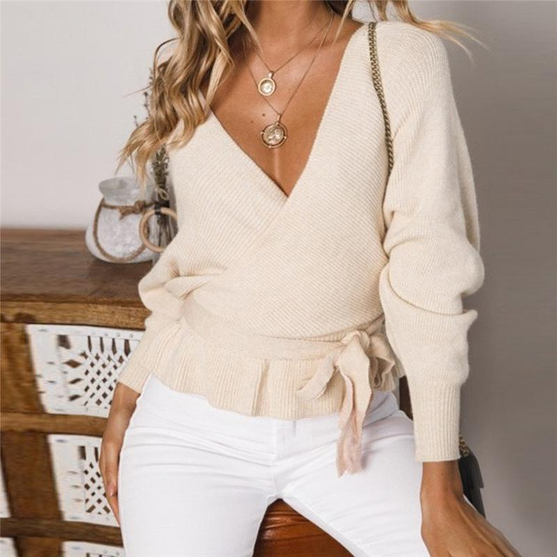 V Neck Hollow Out Lace Up Backless  Knit Sweater