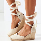 Retro Wedges Lace Up Chunky Heigh Heels Platform Shoes