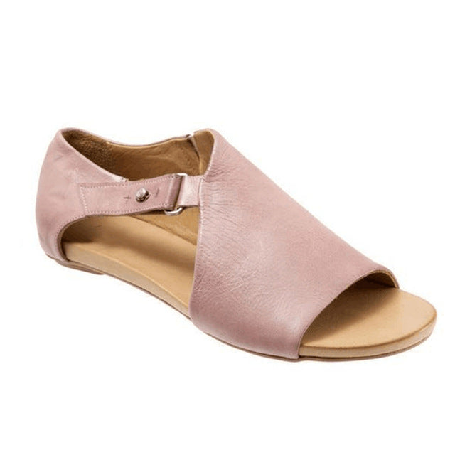 Soft Leather Plus Size Peep Toe Flat Sandals