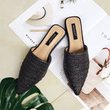 Weave  Knitted Babouche Pointed Toe Half Flat Slipper Shoes