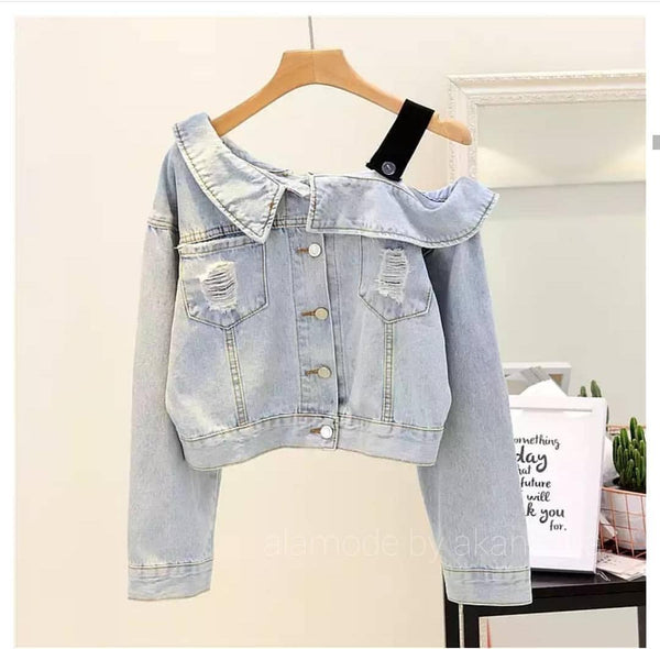 One Shoulder Biker Denim Jackets - On Preorder - Alamode By Akanksha