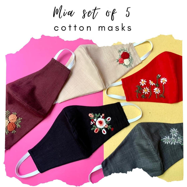Mia Set of 5 Luxury Embroidered Masks (Ships in 24 Hours)