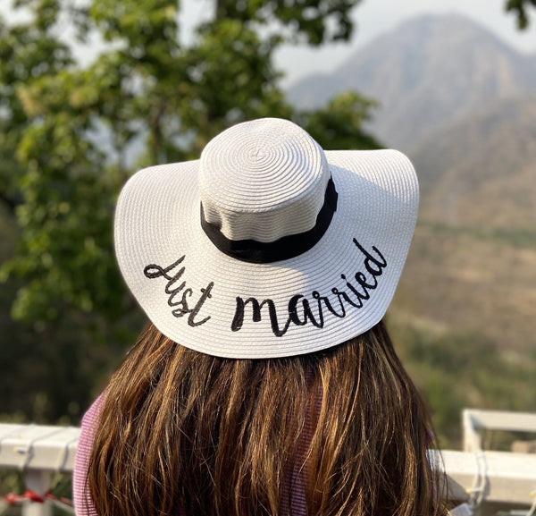 Just Married Straw Hat - White