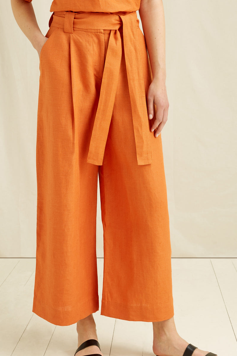 Montana Linen Trousers | Orange