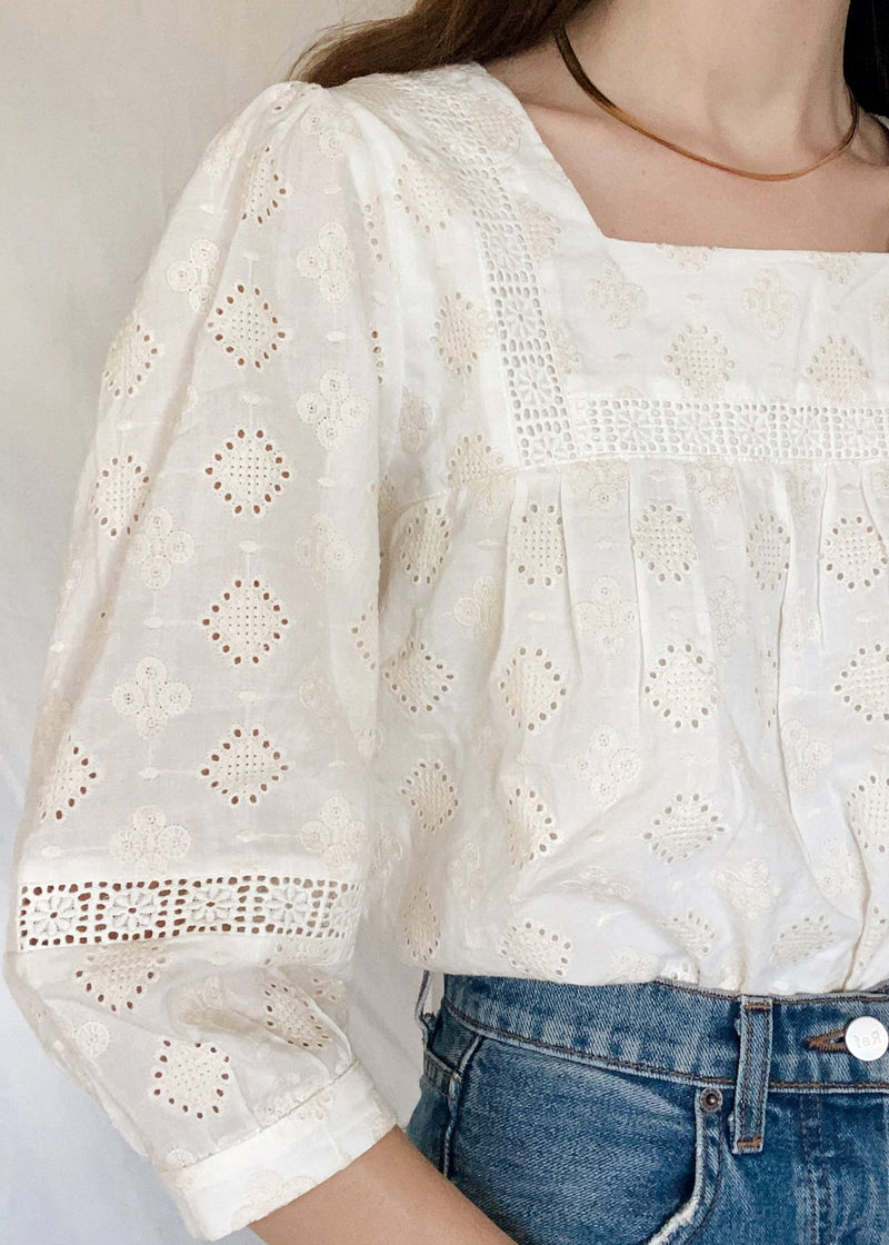 Juliana Natural Embroidered Blouse