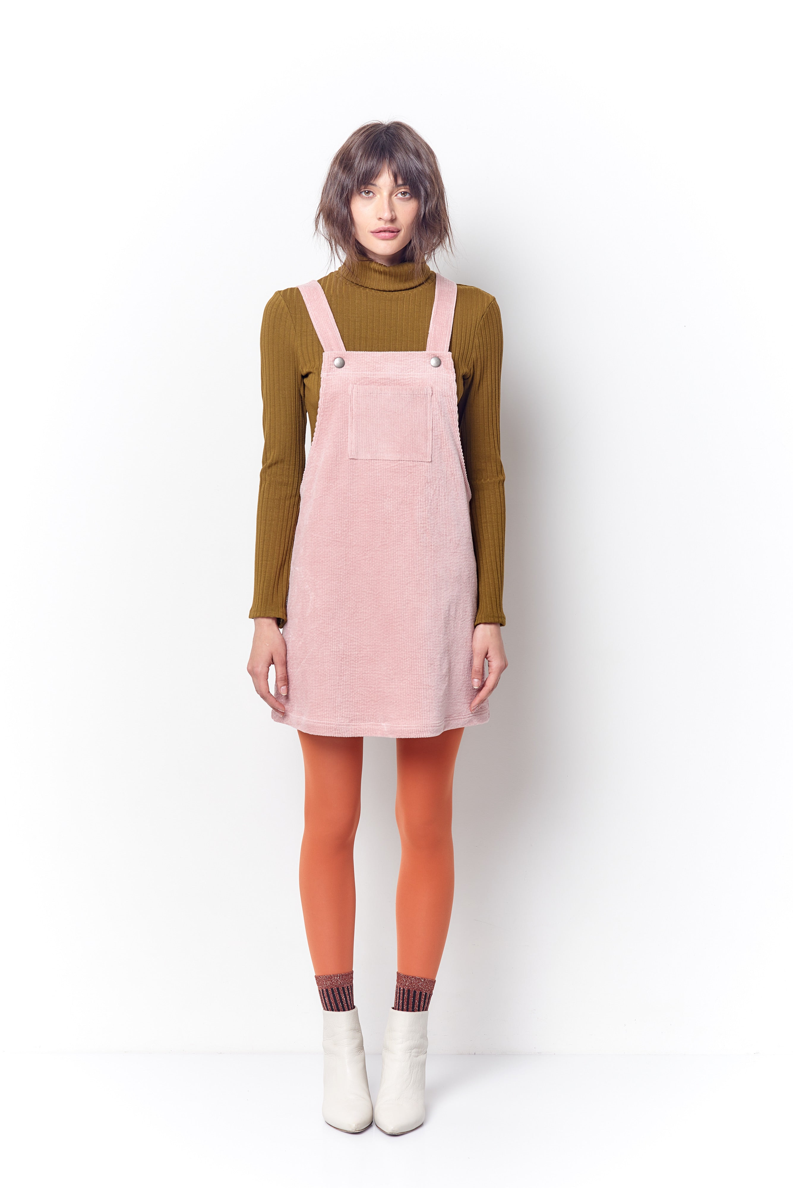 Fawn Corduroy Overall Dress