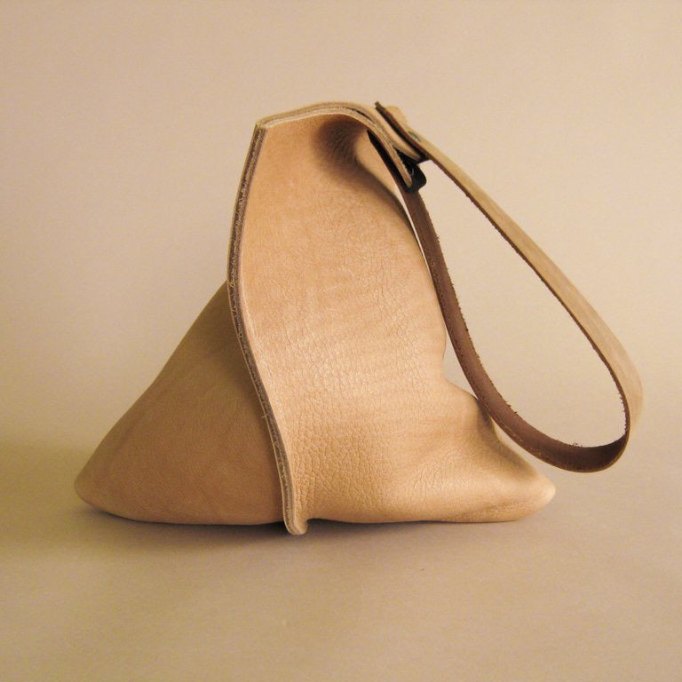 Leather Wedge Tote Bag | Cashew