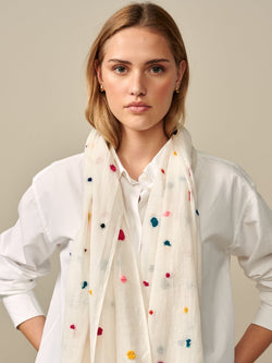 Bellerose Vuria Cotton Polka Dot Embroidered Scarf