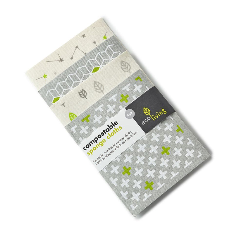 Compostable Sponge Cleaning Cloths - Leaf & Cubes