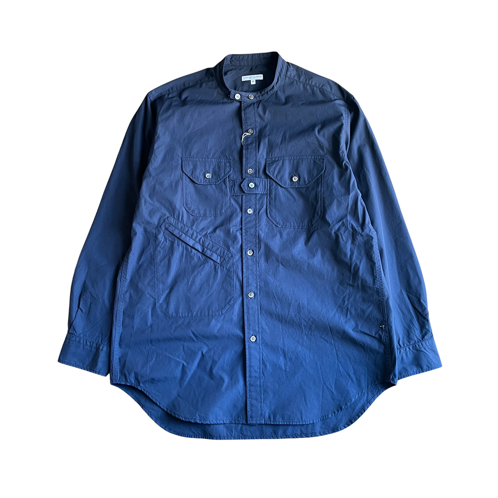 ENGINEERED GARMENTS Banded Collar Shirt - Dk.Navy 100's 2Ply Broadcloth