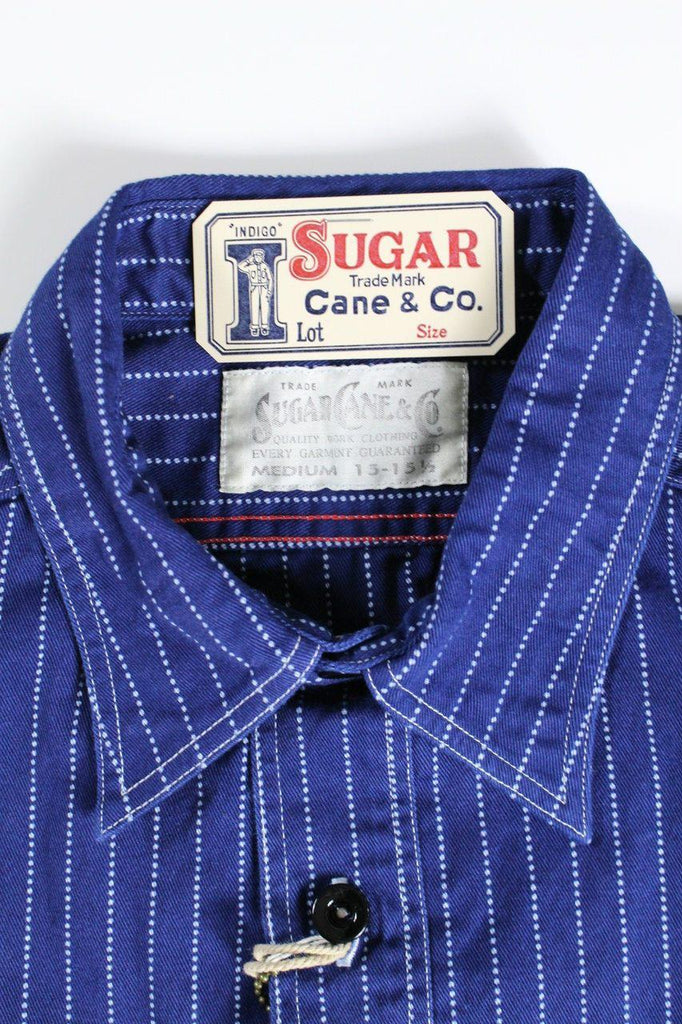 SUGAR CANE FICTION ROMANCE 8.5oz WABASH STRIPED WORK SHIRT - BOROPBY