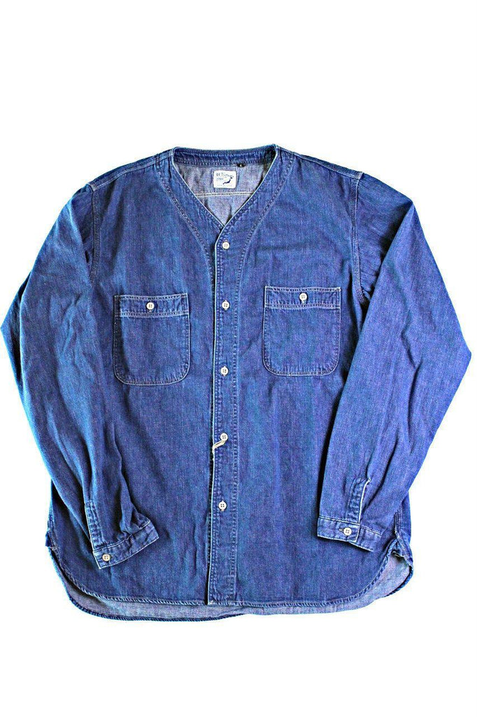 orSlow NO COLLAR INNER SHIRTS DENIM - BOROPBY