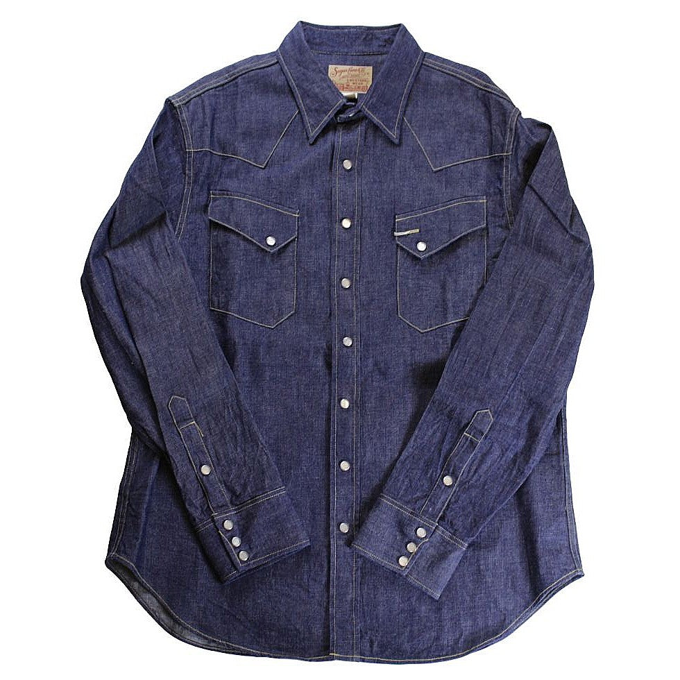 SUGAR CANE Blue Denim Western Shirt - BOROPBY