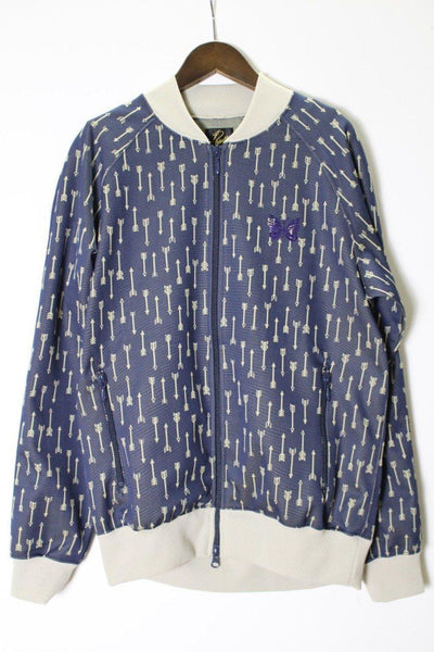 NEEDLES Rib Collar Track Jacket - Poly Jacquard (Arrow/Navy)