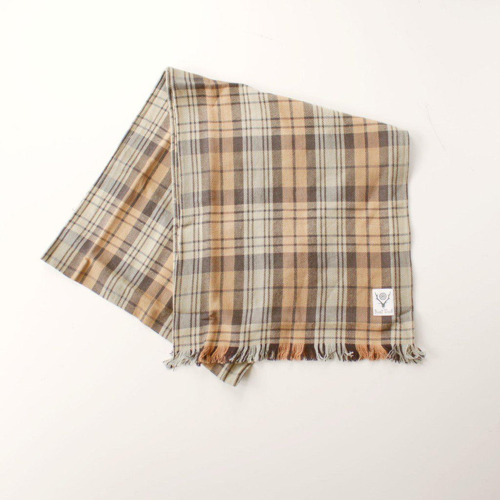 SOUTH2 WEST8 Stole - Plaid Twill Khk/Blk - BOROPBY