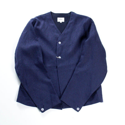 HAVERSACK Linen Canvas No Collar Work Jacket Navy