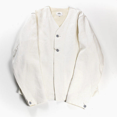HAVERSACK Linen Canvas No Collar Work Jacket White