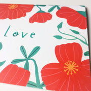 Red Poppies Love Card by Honeyberry Studios