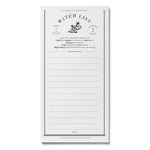 Witch List Notepad by Open Sea