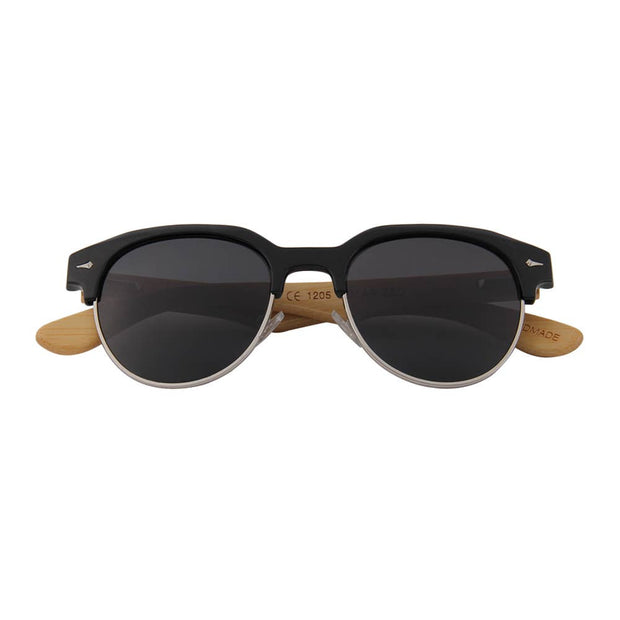 Bamboo Retro Browline Sunglasses