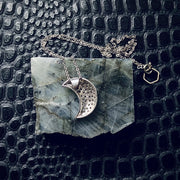 SES100 Sparkly Silver Moon Necklace