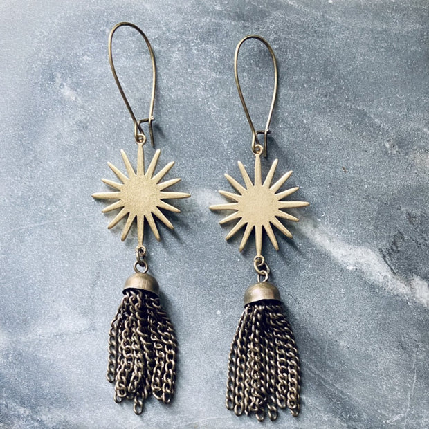 SES3638 Sun Tassel Earrings