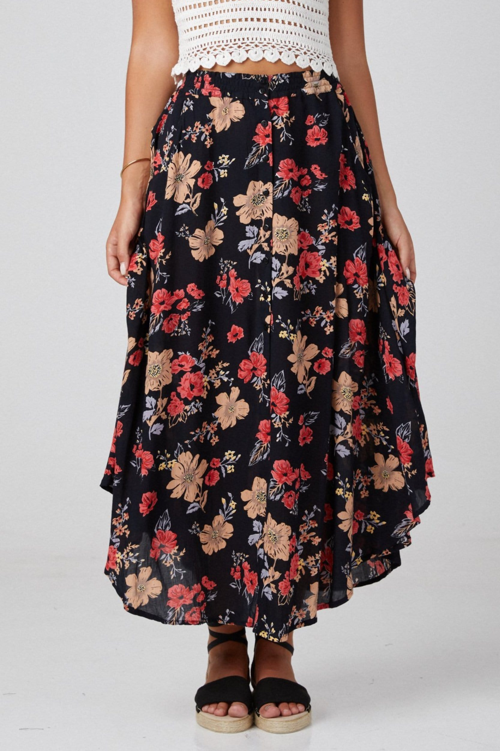 Button Mx Skirt - Skirt - LOST IN PARADISE