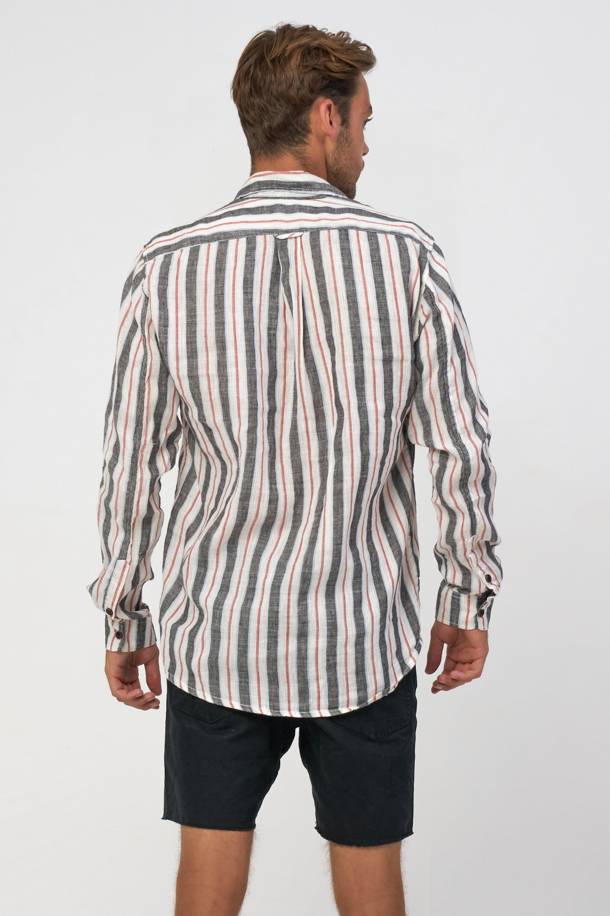 Linen V Stripe Ls - Man Shirt - LOST IN PARADISE