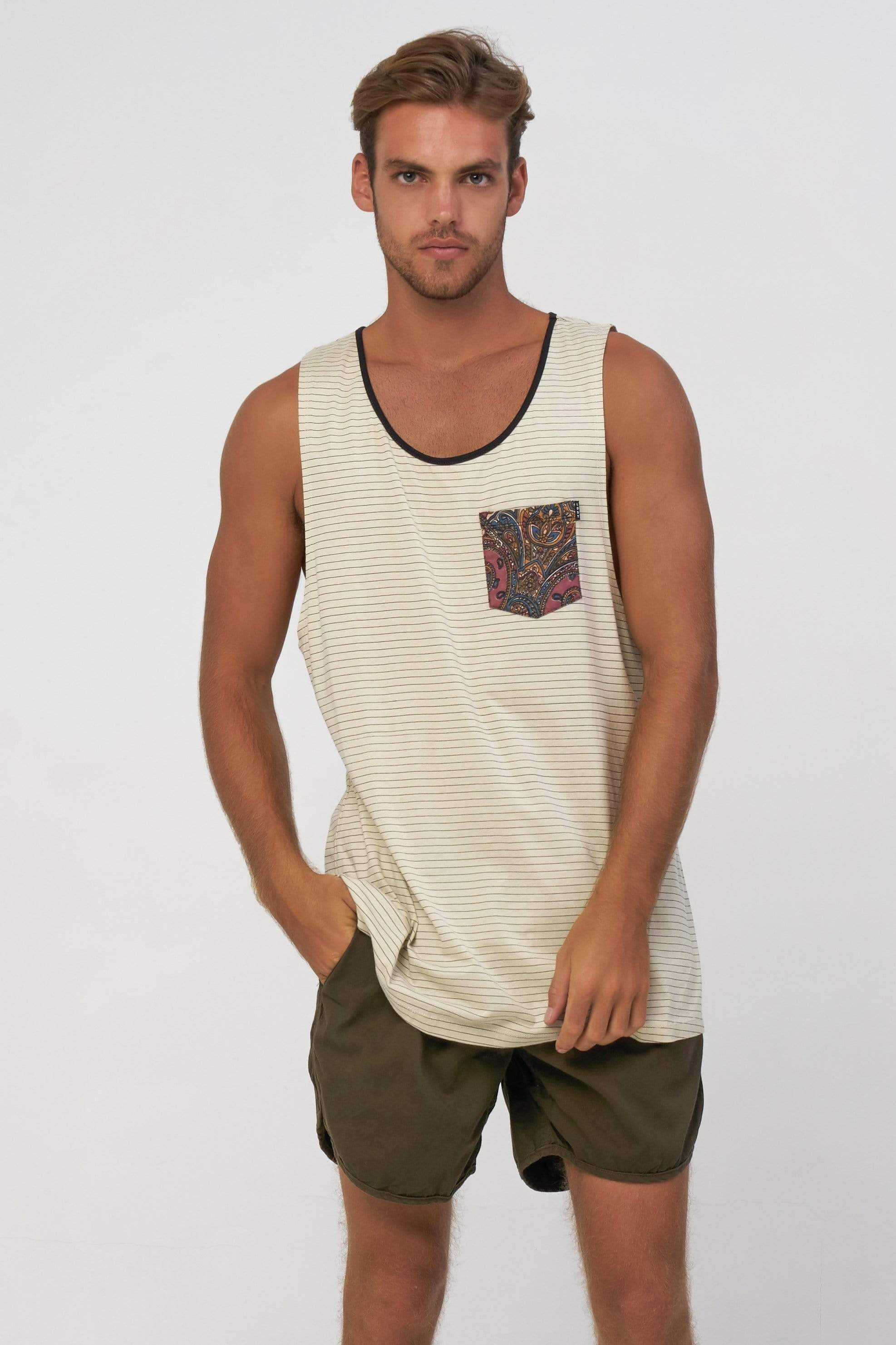 Paisley Pocket Sing - Man Singlet - LOST IN PARADISE