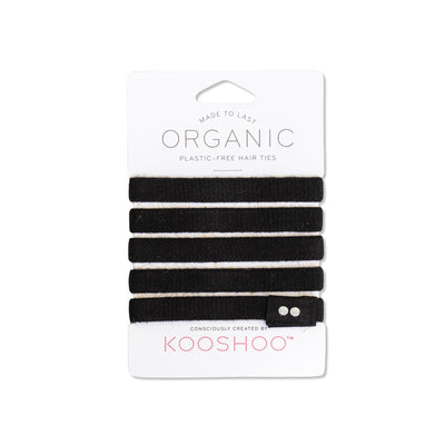 Front facing product image of Kooshoo Organic Hair Ties in Black. Available for purchase on The Conservationist.