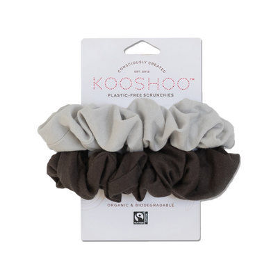 Front facing image of grey and light grey organic scrunchies available for purchase on The Conservationist.